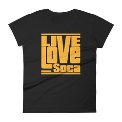 Black Edition Womens T-Shirt - Orange Print - Fitted - Live Love Soca Clothing & Accessories