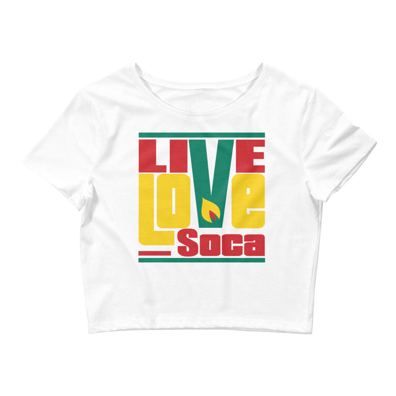 Grenada Islands EditionvWomens White Crop Tee - Fitted - Live Love Soca Clothing & Accessories