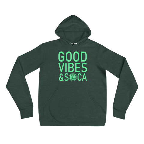 Good Vibes & Soca Green Womens Hoodie - Live Love Soca Clothing & Accessories