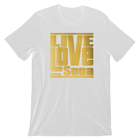 Gold Mens White T-Shirt - Regular Fit - Live Love Soca Clothing & Accessories