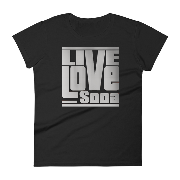 Silver Womens Black T-Shirt -  Fitted - Live Love Soca Clothing & Accessories