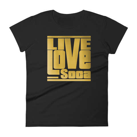 Gold Womens Black T-Shirt -  Fitted - Live Love Soca Clothing & Accessories