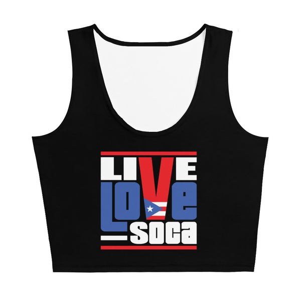 Puerto Rico Islands Edition Black Crop Tank Top - Fitted - Live Love Soca Clothing & Accessories