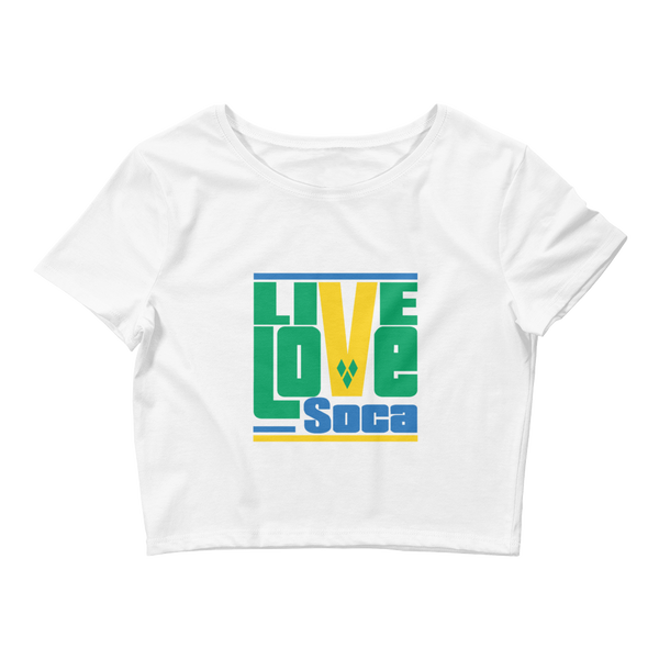 Saint Vincent & The Grenadines Islands Edition Womens White Crop Tee - Fitted - Live Love Soca Clothing & Accessories