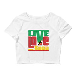 Saint Kitts Islands Edition Womens White Crop Tee - Fitted - Live Love Soca Clothing & Accessories