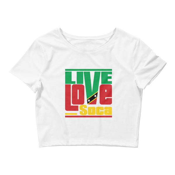 Islands Edition Saint Kitts White Womens Crop Top - Fitted - Live Love Soca Clothing & Accessories