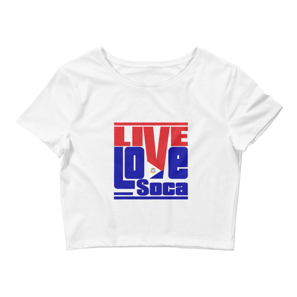 Saint Maarten Islands Edition Womens White Crop Tee - Fitted - Live Love Soca Clothing & Accessories