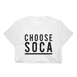 Choose Soca - White Womens Crop Top - Live Love Soca Clothing & Accessories