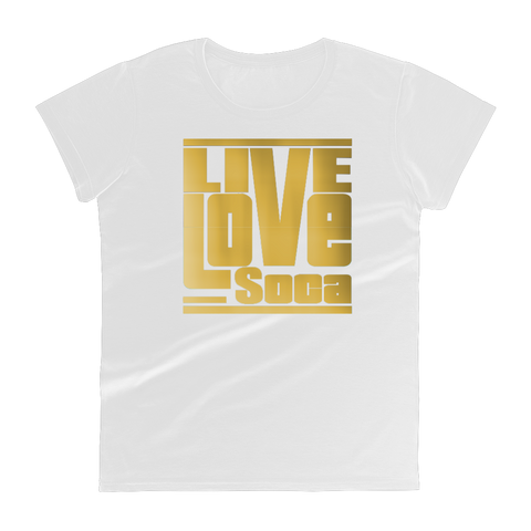 Gold Womens White T-Shirt -  Fitted - Live Love Soca Clothing & Accessories