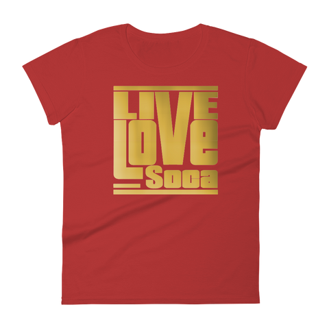 Gold Womens Red T-Shirt -  Fitted - Live Love Soca Clothing & Accessories