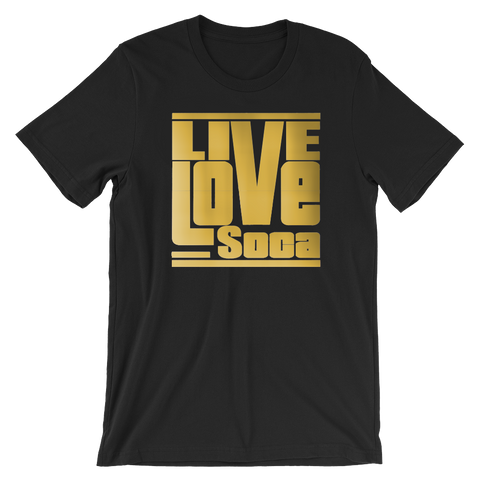 Gold Mens Black T-Shirt - Regular Fit - Live Love Soca Clothing & Accessories