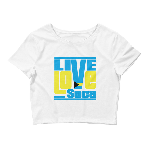 Bahamas Islands Edition Womens White Crop Tee - Fitted - Live Love Soca Clothing & Accessories