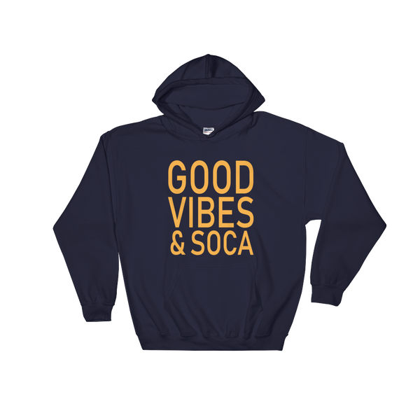 Good Vibes & Soca Blue Mens Hoodie - Live Love Soca Clothing & Accessories