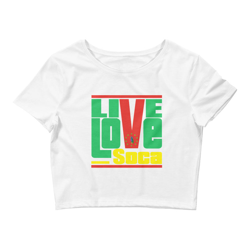 Dominica Islands Edition Womens White Crop Tee - Fitted - Live Love Soca Clothing & Accessories