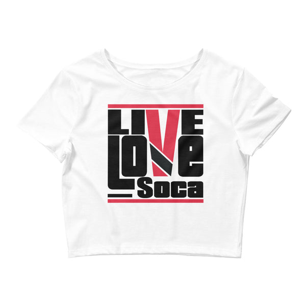 Trinidad & Tobago Islands Edition Womens White Crop Tee - Fitted - Live Love Soca Clothing & Accessories