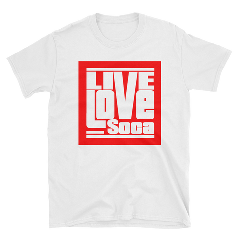 Live Love Soca Short-Sleeve Unisex T-Shirt - Red Boxed Logo - Live Love Soca Clothing & Accessories