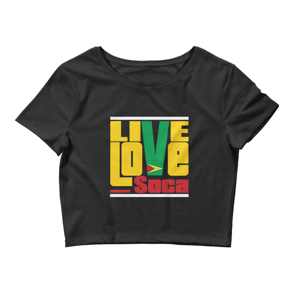 Guyana Islands Edition Womens Black Crop Tee - Fitted - Live Love Soca Clothing & Accessories