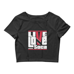 Trinidad & Tobago Islands Edition Womens Black Crop Tee - Fitted - Live Love Soca Clothing & Accessories