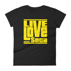 Black Edition Womens T-Shirt - Yellow Print - Fitted - Live Love Soca Clothing & Accessories