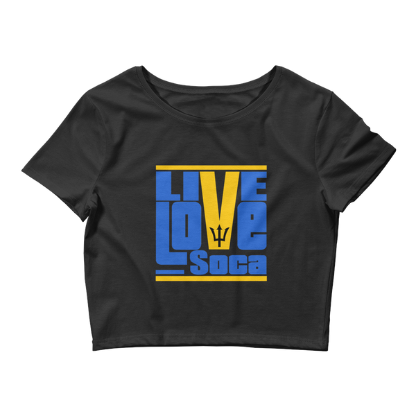 Barbados Islands Edition Womens Black Crop Tee - Fitted - Live Love Soca Clothing & Accessories