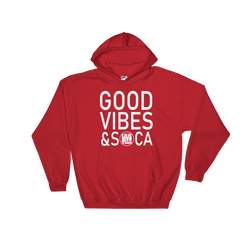 Good Vibes & Soca Red Mens Hoodie - Live Love Soca Clothing & Accessories