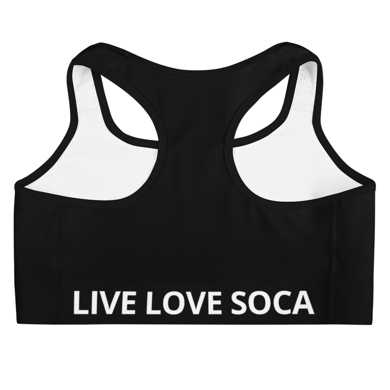 Energy Active Black-White Sports Bra - Live Love Soca Clothing & Accessories
