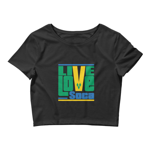 Saint Vincent & The Grenadines Islands Edition Womens Black Crop Tee - Fitted - Live Love Soca Clothing & Accessories