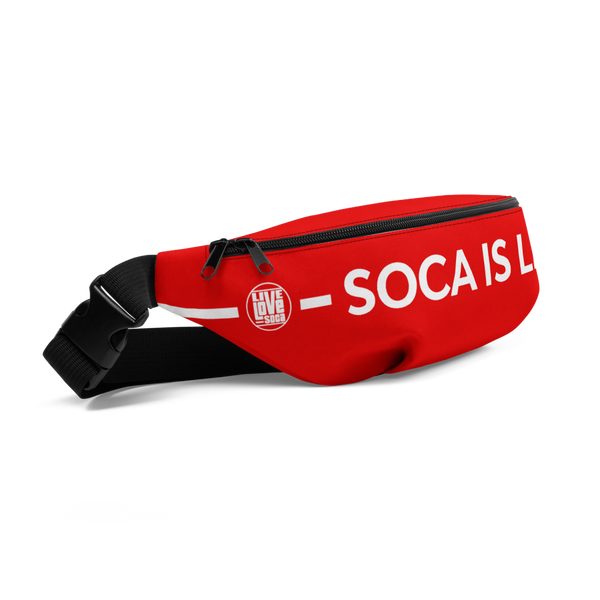 Soca Is Life Red - White Waist Bag - Live Love Soca Clothing & Accessories