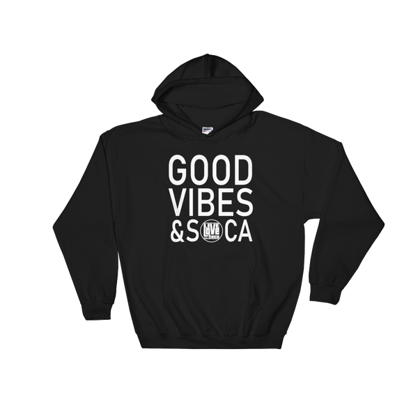 Good Vibes & Soca Black  Mens Hoodie - Live Love Soca Clothing & Accessories