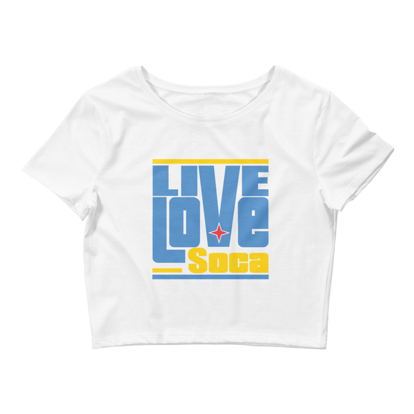 Aruba Islands Edition Womens White Crop Tee - Fitted - Live Love Soca Clothing & Accessories