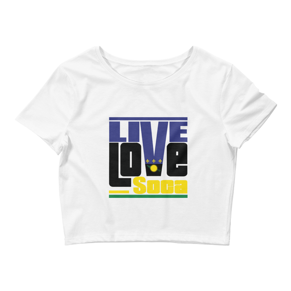Guadeloupe Islands Edition Womens White Crop Tee - Fitted - Live Love Soca Clothing & Accessories