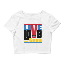 Antigua Islands Edition Womens White Crop Tee - Fitted - Live Love Soca Clothing & Accessories