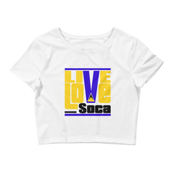 Saint Lucia Islands Edition Womens White Crop Tee - Fitted - Live Love Soca Clothing & Accessories