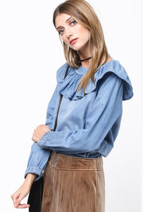 Chambray Ruffle Top