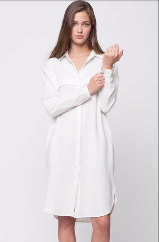 Linen Shirt Dress - White