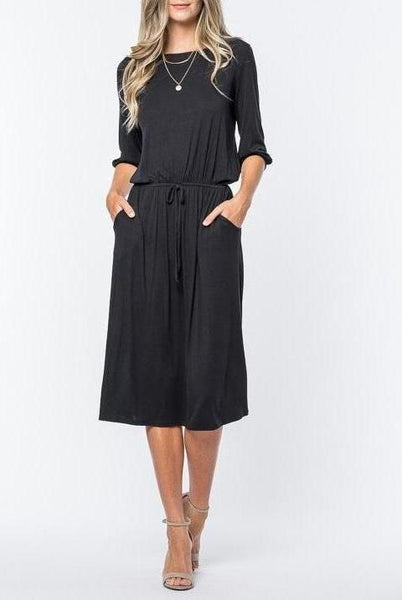 String Jersey Dress - Black