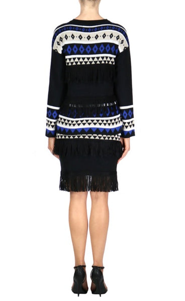 Geo Fringe Sweater - Black