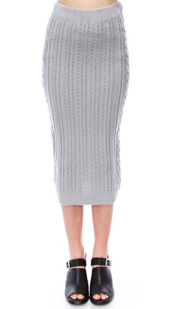 Cable Knit Skirt - Grey