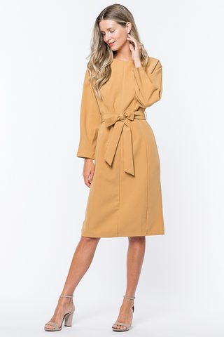 Tie Up Dress - Mustard