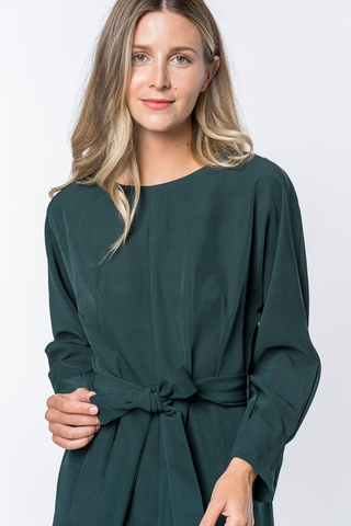 Tie Up Dress - Emerald