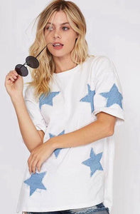 Denim Star Patch Top