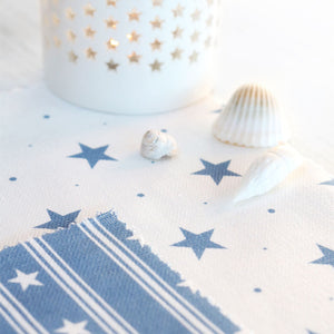 Starfall Fabric - White On Blue Shadow - Meg Morton