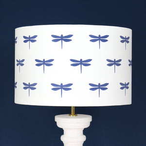 Dragonfly Lampshade - Durlston Blue On White - Meg Morton