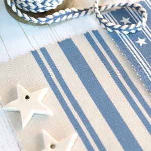 New Dorset Striped Linen Fabric - Blue Shadow On Millstone - Meg Morton