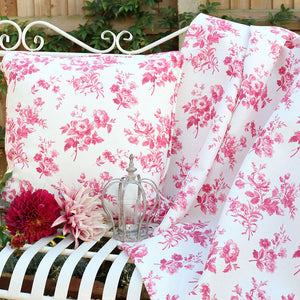 Adelaine Floral Linen Fabric - French Raspberry - Meg Morton