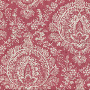 Highcliffe Fabric- Large - Stone On Andelys Red - Meg Morton