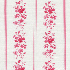 Brocante Stripe Linen Fabric - French Raspberry - Meg Morton