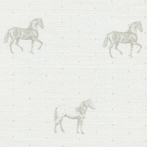Country Horses Fabric - Light Bay On White - Meg Morton