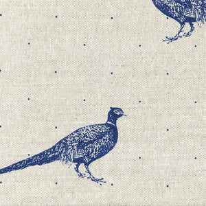 Large Fontmell Pheasant Linen Fabric - Durlston Blue On Pebble