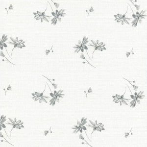 French Daisy Linen Fabric - Palace Grey - Meg Morton